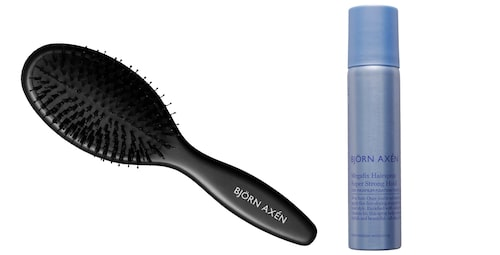 Hårborste och hårspray från Björn Axén.