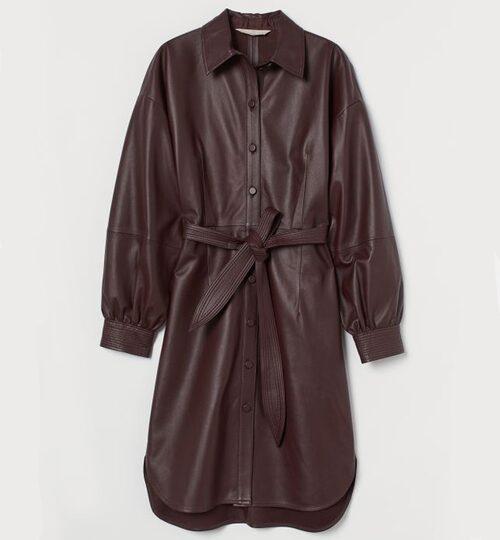 Skjortklänning i skinn från H&M. Klicka på bilden och kom direkt till klänningen.