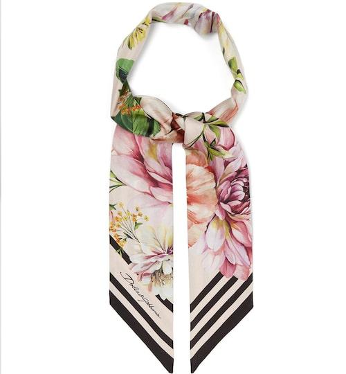 Floral and stripe-print silk scarf, Dolce & Gabbana. Klicka på bilden och kom direkt till scarfen.