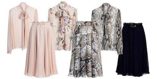 Blusen Peony och kjolen Moody från Ida Sjöstedt i olika färger och mönster.