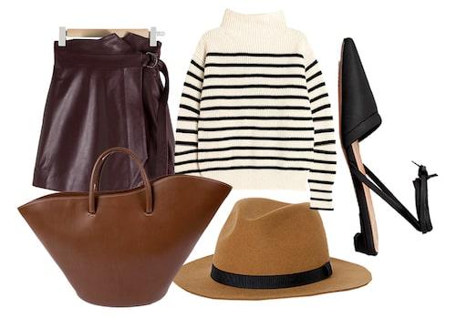 Styla den randiga, stickade tröjan med skinnkjol och slingbacks för en vassare look.