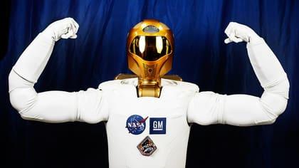 Nasas robonaut R2 spänner musklerna på Johnson space center i Houston.