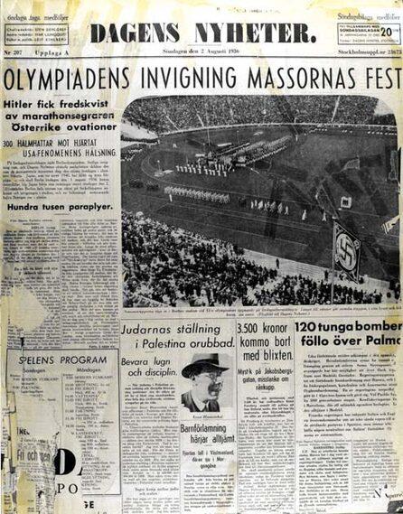 """""""Achtung, skrek en fruktansvärd högtalarröst ut över Stadion, och det blev dödstyst ..."""", skrev Barbro Alving om OS-invigningen i Berlin."""