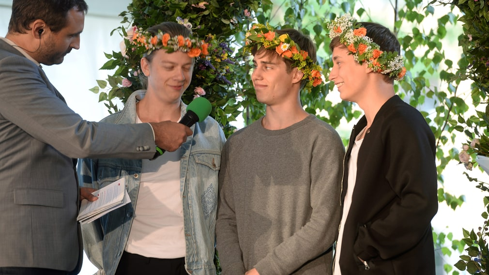 """Victor Beer, Emil Beer, Joel Adolpson i humorgruppen """"I Just Want To Be Cool""""."""