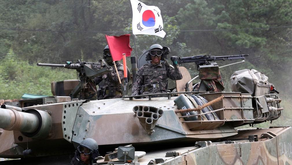 Sydkoreansk militär under en övning i närheten av gränsen till Nordkorea i september.
