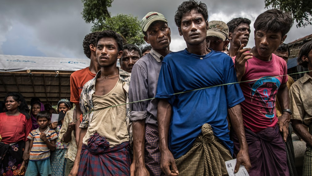 New Rohingyas have been registered in Balukhali camp, and they are waiting to receive a tarpaulin, a plastic bucket and and three packets of biscuits.