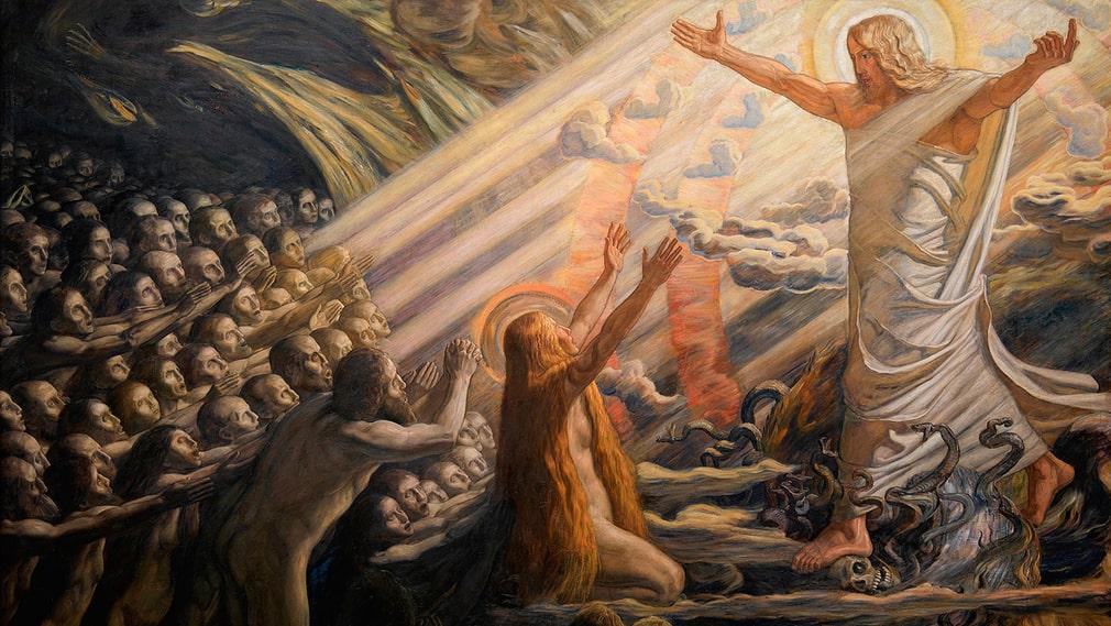 """Joakim Skovgaards """"Kristus i de dødes rige"""" 1891–1894 (beskuren). Efter korsfästelsen stiger Kristus ned i dödsriket, och tre dagar senare återuppstår han."""