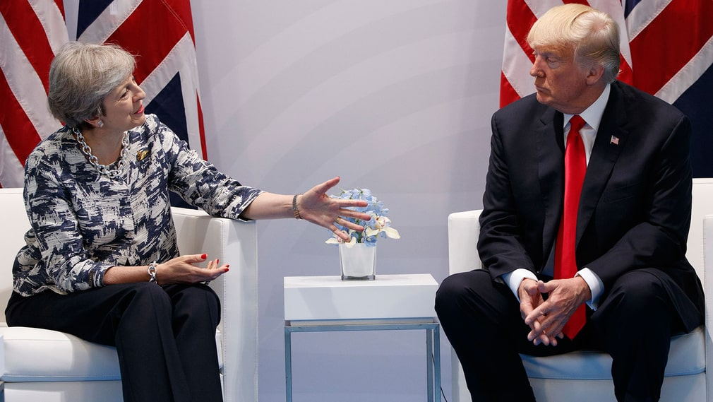 Theresa May och Donald Trump under G20-mötet.