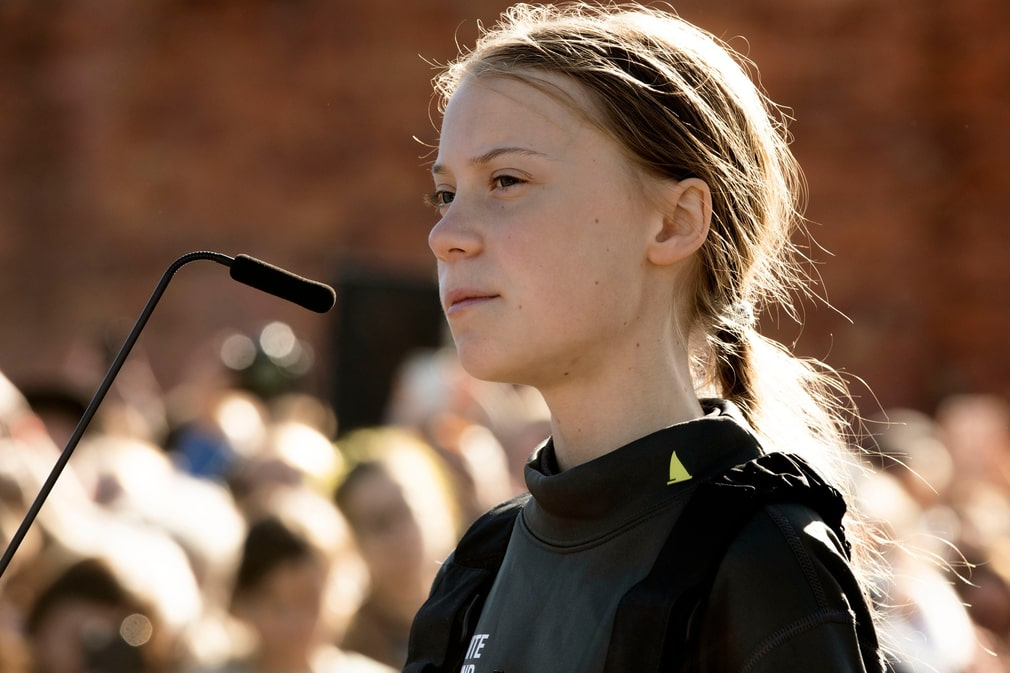 Greta Thunberg at a press conference after arriving in Lisbon.
