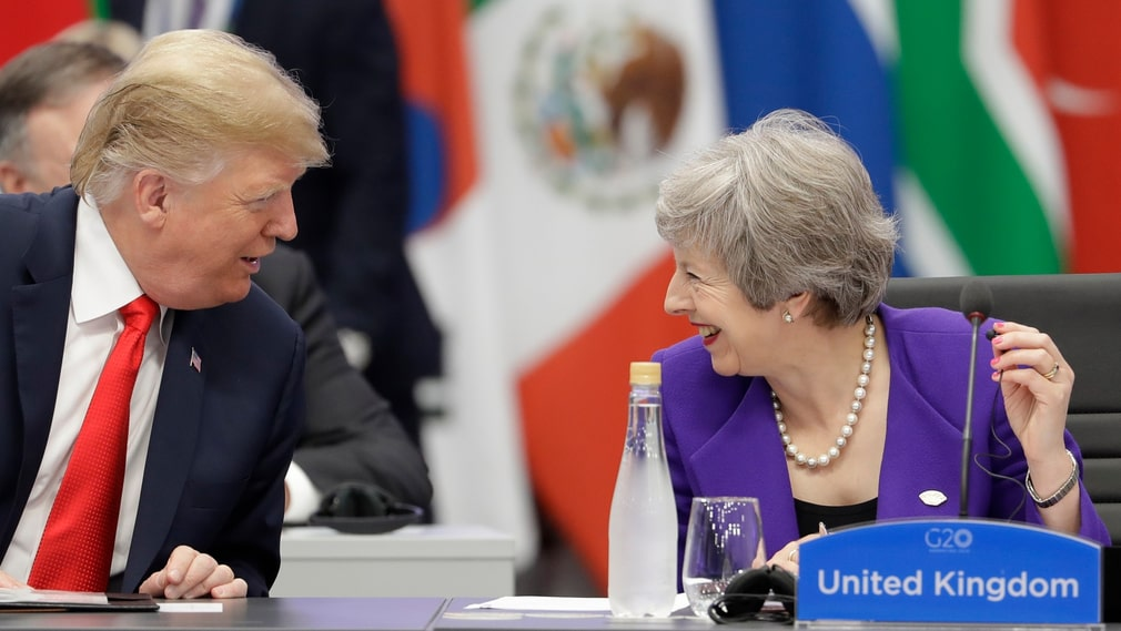 Donald Trump och Theresa May under G20-mötet i Buenos Aires i november.