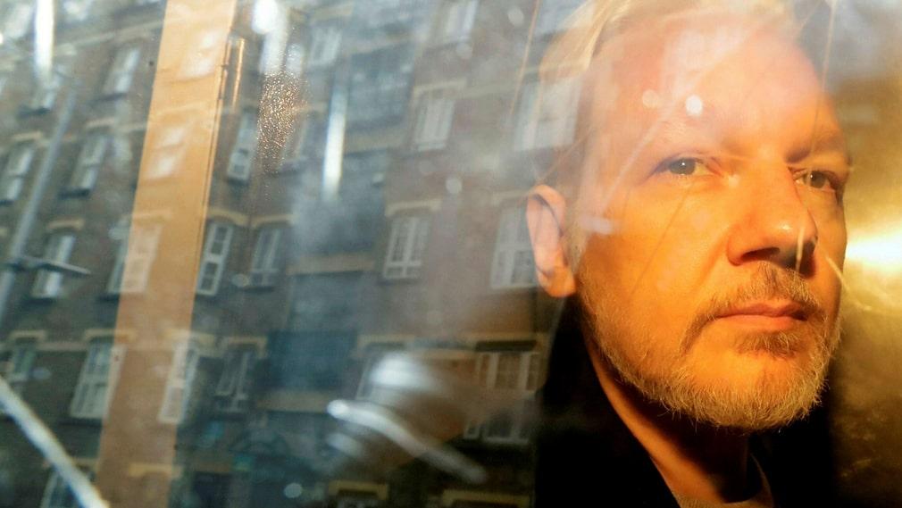Julian Assange after his arrest in early May.