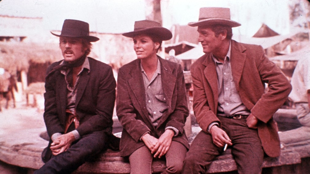 """Butch Cassidy and the Sundance kid"" med Robert Redford, Katharine Ross och Paul Newman."