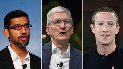 Googles vd Sundar Pichai, Apples vd Tim Cook och Facebookgrundaren Mark Zuckerberg.