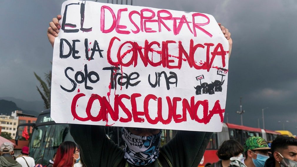 Anti-government protests in Bogota on May 4.