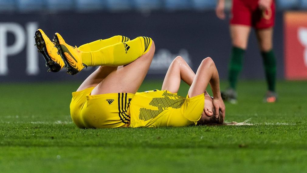 Fridolina Rolfö (bilden) missar EM-kvalet efter en hjärnskakning. Det gör även Hedvig Lindahl och Hanna Glas (båda knäskador). Stina Blackstenius (bristning i baksida lår) är ett frågetecken, liksom Mimmi Larsson (lår).