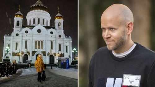 En kyrka i Moskva, Ryssland, och Spotifys vd Daniel Ek.