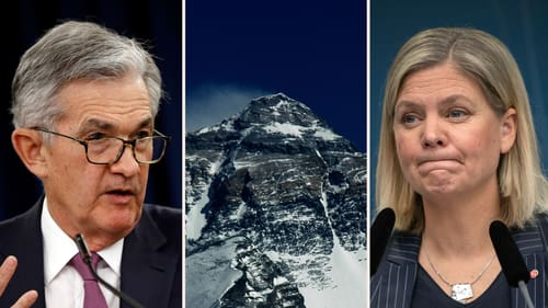 Fed-chefen Jerome Powell, Mount Everest och finansminister Magdalena Andersson (S).