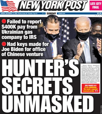 Examples of The New York Post's and Fox News' coverage of the Hunter Biden's emails.