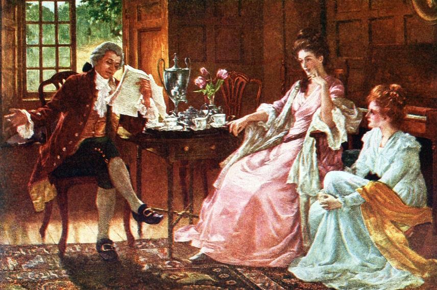 Manlig högläsning under det tidiga 1800-talet.