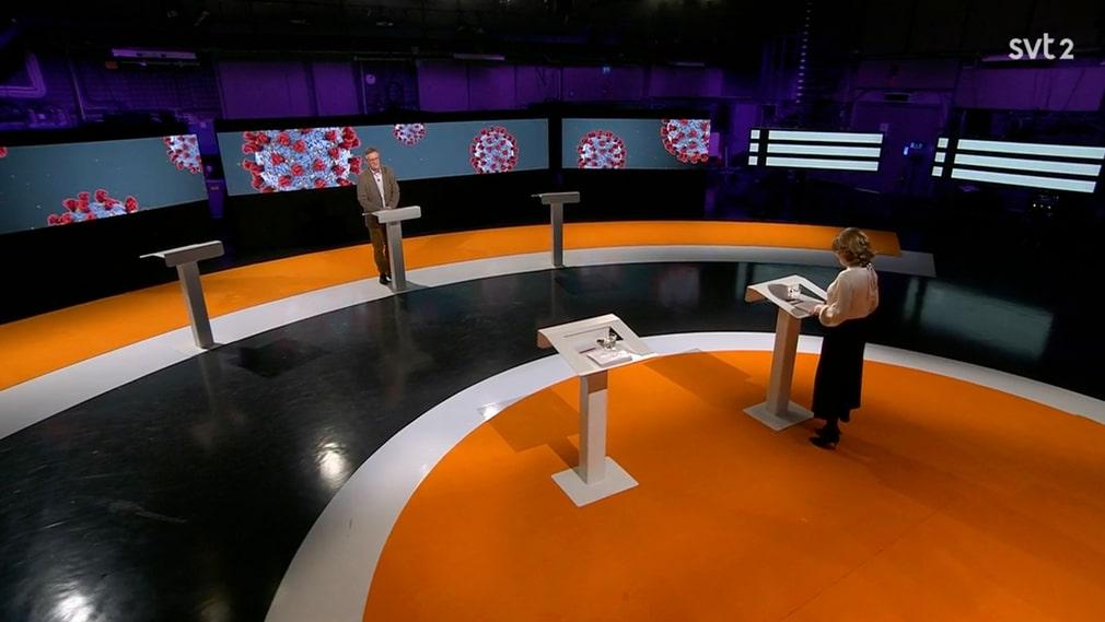 Statsepidemilog Anders Tegnell på Folkhälsomyndigheten frågades ut av SVT-programledaren Nike Nylandet under söndagskvällens tvåtimmarssändning i SVT2 om coronapandemin som hittills orsakat över 10.000 dödsoffer i Sverige.