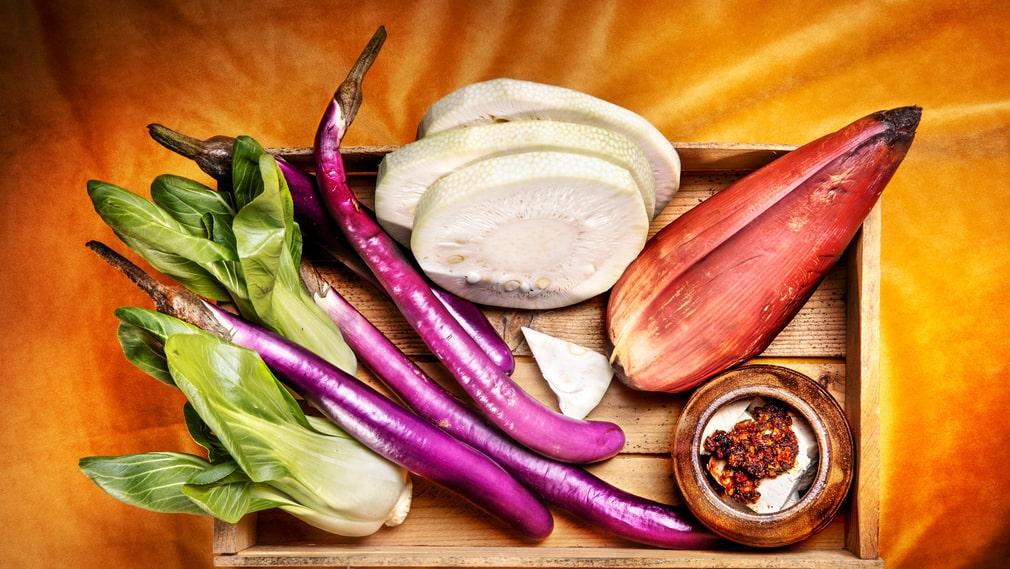 Råvaror till vegetarisk mat.