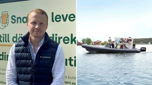 Ludwig Dinsmore på Picsmart (till vänster) utmanar nu Mathem med båtburna leveranser (till höger) i Stockholms skärgård.