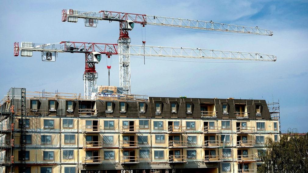 Byggande av bostäder vid Telefonplan i Stockholm 2014.